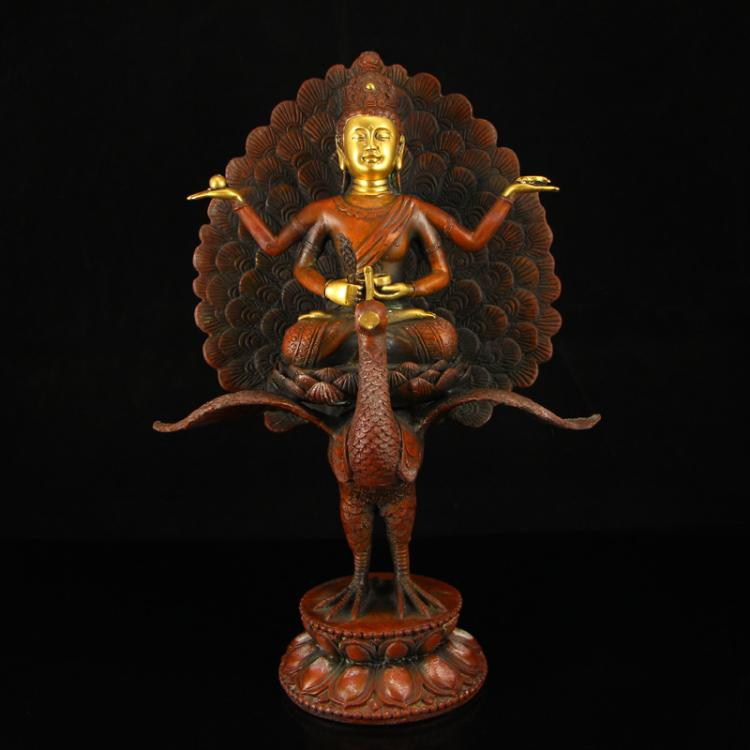 Chinese Ming Dynasty Gilt Gold Red Copper Peacock Buddha Statue