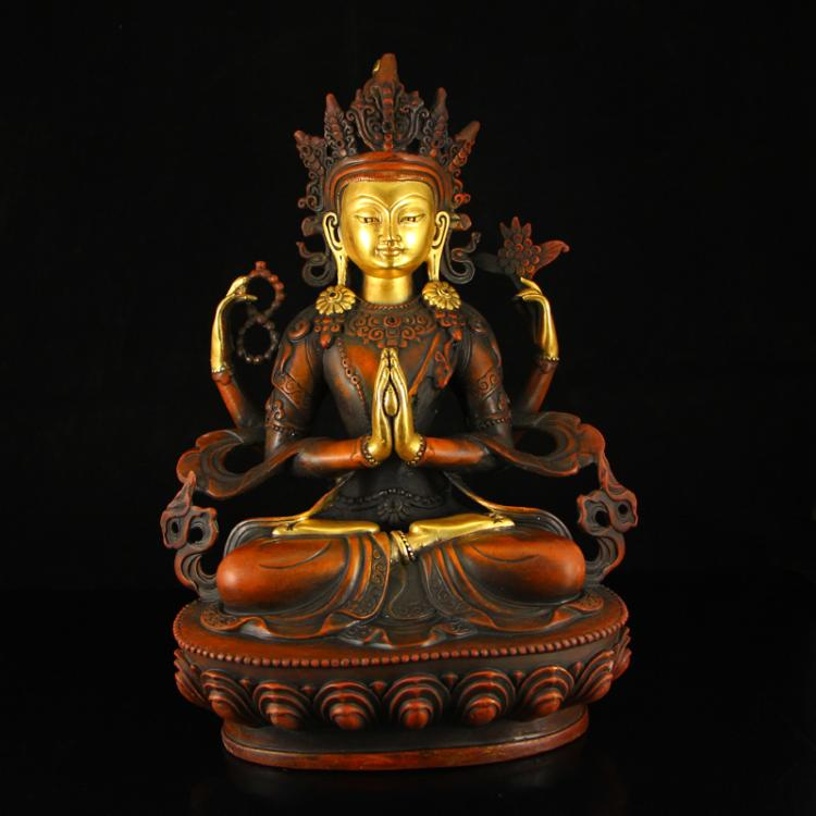 Chinese Ming Dynasty Tibet Gilt Gold Red Copper Four Arms Kwan-yin Statue
