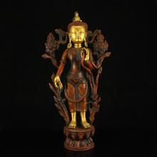 Chinese Ming Dynasty Tibet Gilt Gold Red Copper Tara Statue