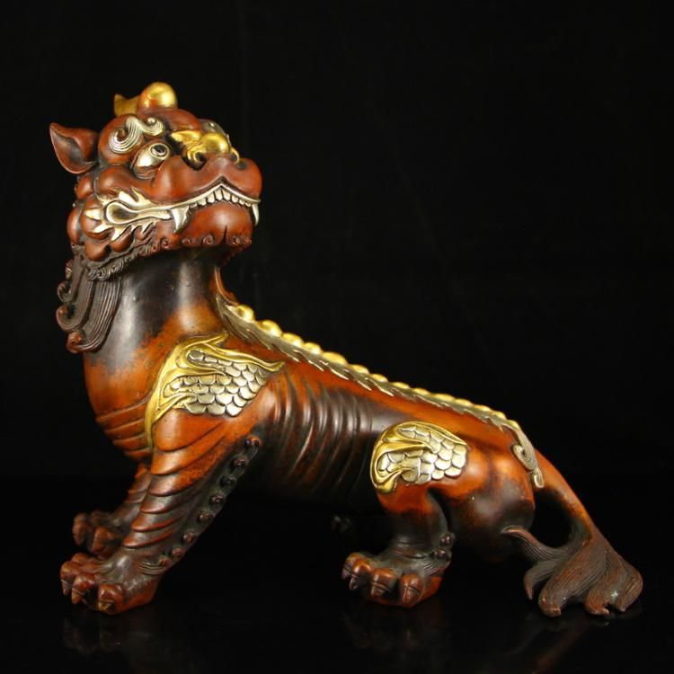 Chinese Ming Dynasty Gilt Gold & Silver Red Copper Unicorn Statue