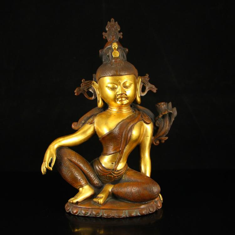 Chinese Ming Dynasty Tibet Gilt Gold Red Copper Tara Buddha Statue