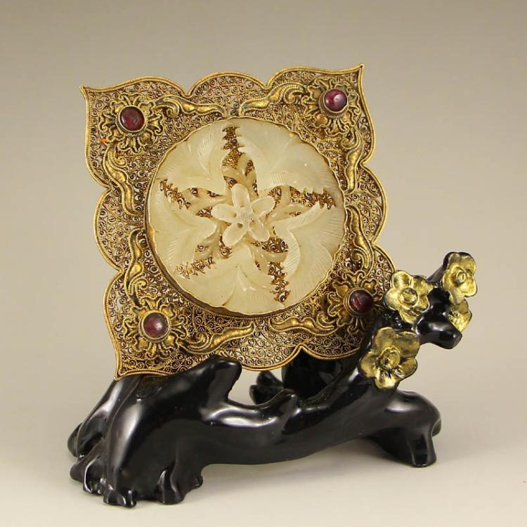 Vintage Hetian Jade Inlay Gold Wire & Gem Pendant