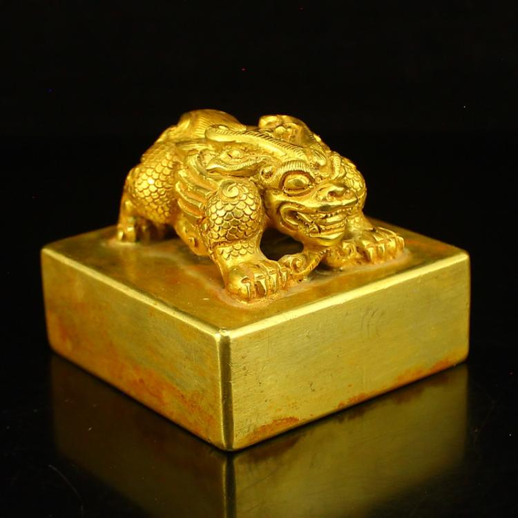 Chinese Liao Dynasty Gilt Gold Bronze General Seal