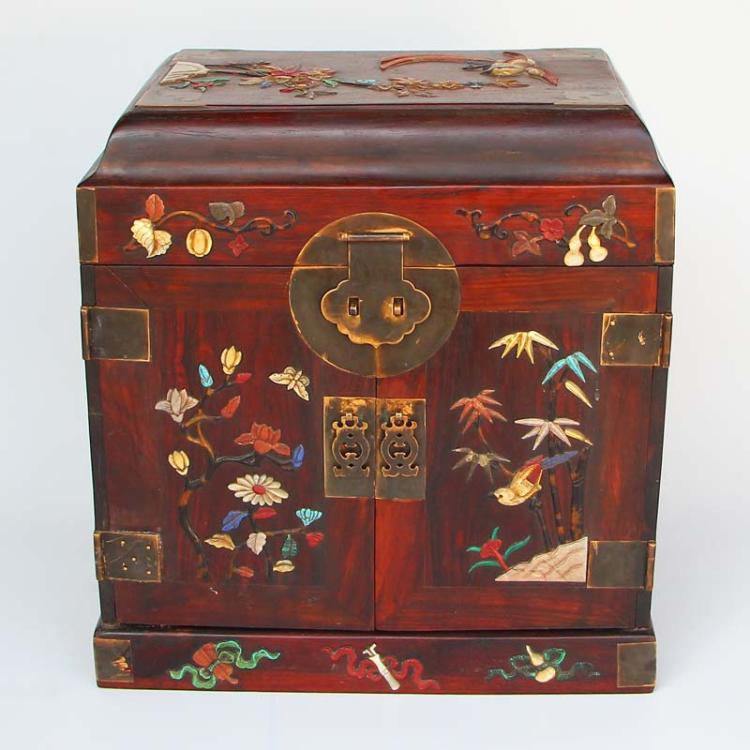 Chinese Qing Dynasty Hainan Huanghuali Wood Inlay Shells & Gemstones Jewel Box