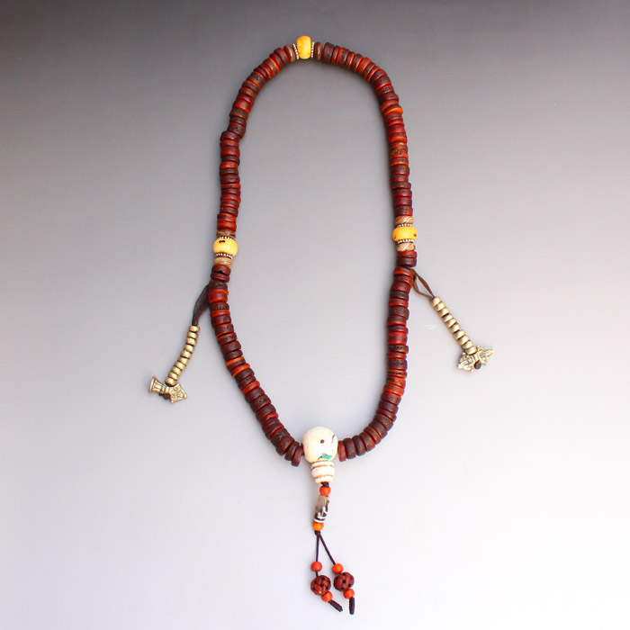 Vintage Chinese Tibet Buddhist Kapala Bone Beads Prayer Necklace Total