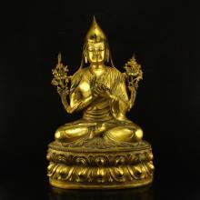 Chinese Tibet Buddhist Gilt Gold Bronze Tsongkhapa Statue