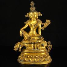 Chinese Tibet Buddhist Gilt Gold Bronze Tara Statue