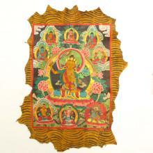 Chinese Tibet Temple Yak Leather Tangka