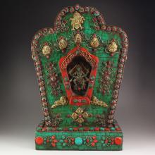 Chinese Tibet Bronze Inlay Gemstone Wow Honk Shrine
