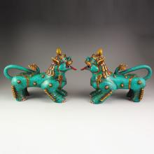 A Pair Chinese Tibet Bronze Gilt Gold Inlay Turquoise Statue - Fortune Beast