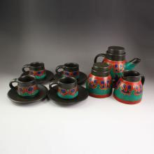 A Set Chinese Tibet Black Pottery Inlay Turquoise Teapot & Cups