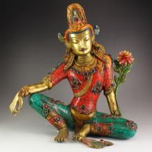 19Th C Chinese Tibet Gold-plated Bronze Inlay Turquoise Gem Kwan-yin Statue