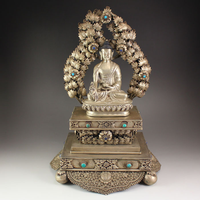 19th C Chinese Tibetan Silver Inlay Gemstone Sakyamuni Buddha Statue