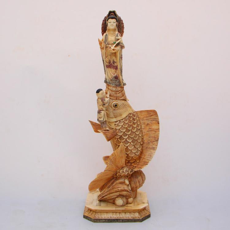 Superb Chinese Bone Statue - Kwan-yin & Fortune Kid