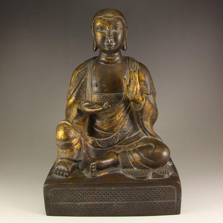 Chinese Ming Dynasty Taoism Gilt Gold Bronze Statue