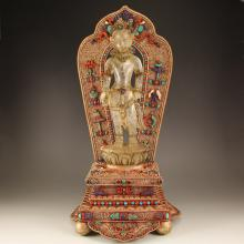 19Th C Chinese Tibet White Crystal Drolma Statue W Silver Inlay Gems Stand