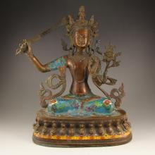 Chinese Tibet Buddhism Bronze Cloisonne Bodhisattva Manjusri Statue