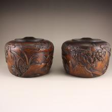 A Pair Vintage Chinese Zitan Wood I-go Pot