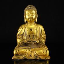 Chinese Ming Dynasty Gilt Gold Bronze Siddhartha Buddha Statue