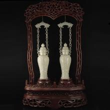 A Pair Superb Chinese Qing Dynasty Natural Hetian Jade Low Relief Braced Chain Vase