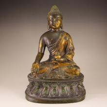 Chinese Gilt Gold Bronze Medicine Buddha Statue