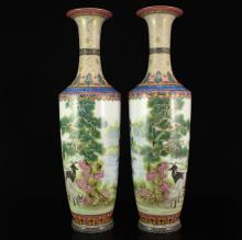 A Pair Chinese Enamel Porcelain Vases w Yongzheng Mark
