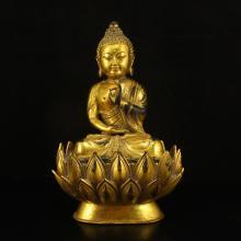 Chinese Gilt Gold Bronze Lotus Flower Buddha Statue