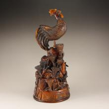 Vintage Chinese Ox Horn Statue - Rooster