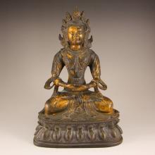 Vintage Chinese Gilt Gold Bronze Kwan-yin Statue