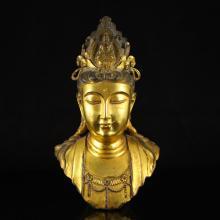 Chinese Ming Dynasty Gilt Gold Bronze Kwan-yin Statue