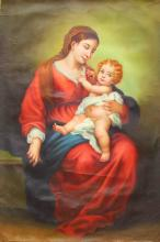 Hand-drawing Canvas Oil Painting Depicting Holy Mother