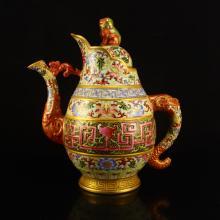 Chinese Qing Dynasty Gilt Gold Enamels Porcelain Domou Pot w Qianlong Mark
