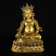 Chinese Tibet Gilt Gold Bronze Buddhism Yellow Jambhala Statue