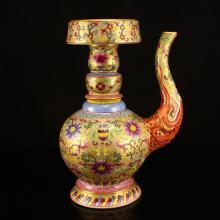 Chinese Qing Dynasty Gilt Gold Famille Rose Porcelain Spray Pot w Yongzheng Mark