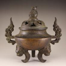 Vintage Chinese Bronze Double Ears 3 Legs Incense Burner