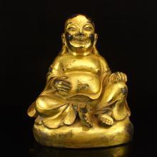 Chinese Gilt Gold Bronze Laughing Buddha Statue