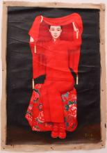 Oil Painting Depicting Chinese Red Dress Bride Scenery Wang Yidong 1955-