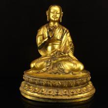 Chinese Ming Dynasty Tibet Gilt Gold Bronze Sabban Buddha Statue