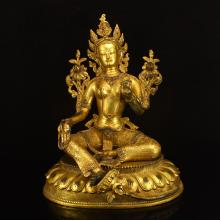 Chinese Ming Dynasty Gilt Gold Bronze Green Tara Statue