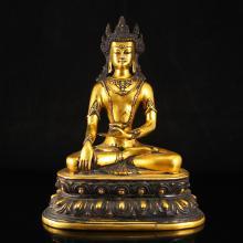 Chinese Ming Dynasty Gilt Gold Bronze Ratnasambhava Statue