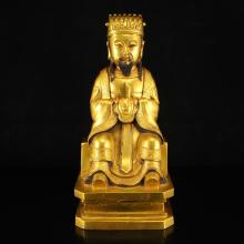 Chinese Ming Dynasty Gilt Gold Bronze Wenchang Taoism Deity Statue