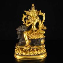 Chinese Ming Dynasty Gilt Gold Bronze Bulmo Tashi Tseringma Statue