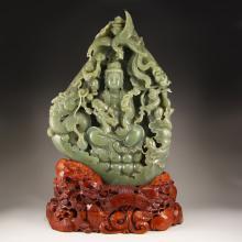 Big Chinese Qing Dynasty Hetian Jade Dragon Phoenix Kwan-yin Statue w Certificate
