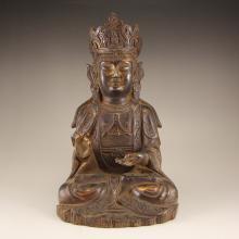 Chinese Ming Dynasty Gilt Gold Bronze Buddhism Bodhisattva Statue