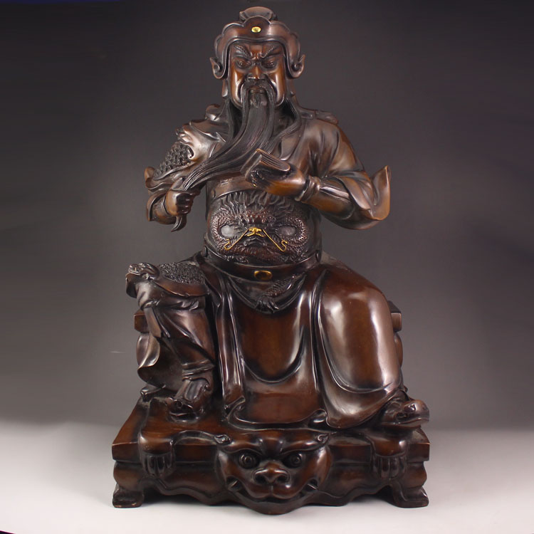 Superb Chinese Red Copper Statue - General Guangong