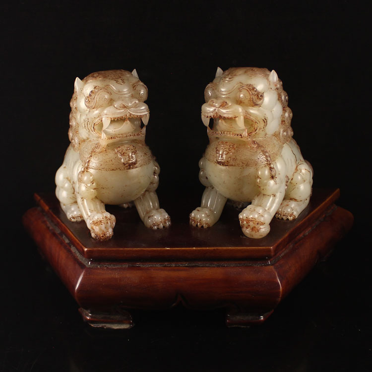 Superb Chinese Natural Hetian Jade Statue - Lions
