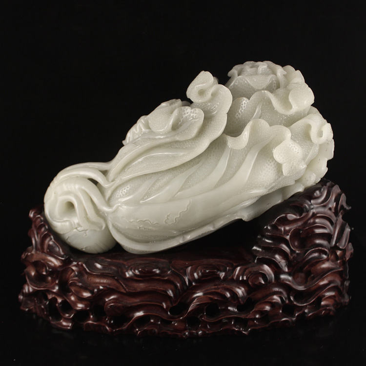 Superb Chinese Natural Hetian Jade Statue - Fortune Cabbage