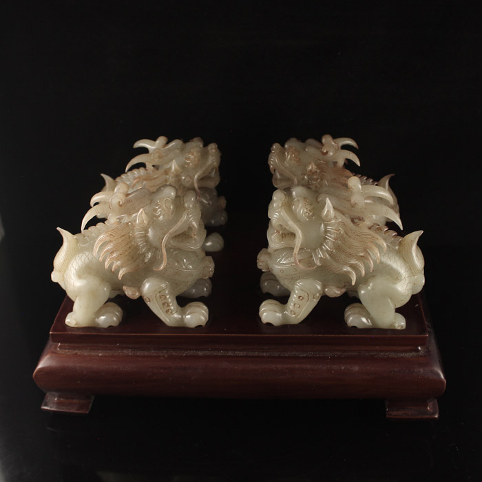 A Set Four Chinese Qing Dynasty Hetian Jade Kylin Statues