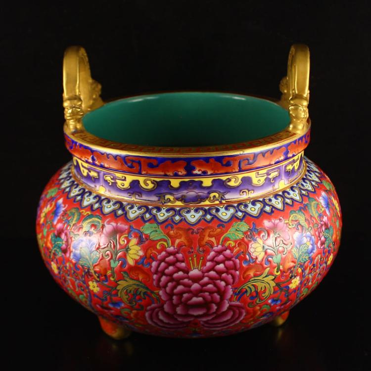 Superb Hand-painted Chinese Gilt Gold Double Ears Famille Rose Porcelain Incense Burner