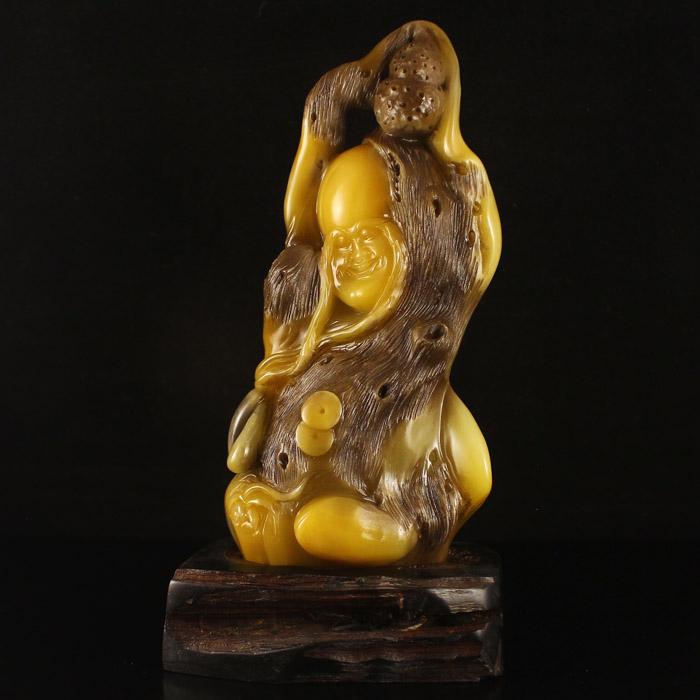 Chinese Natural Shoushan Stone Statue - Buddhism Long Eyebr Arhat Free Certificate